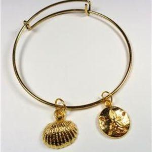 Jewelry - NAUTICAL GOLD TONE SAND DOLLAR SEA SHELL BRACELET